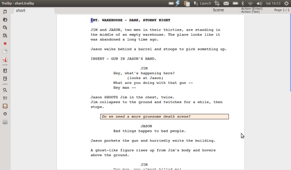 Trelby, a type of free screenwriting software