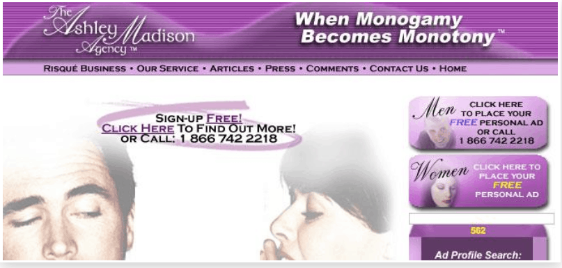 First Version of Ashley Madison Website
