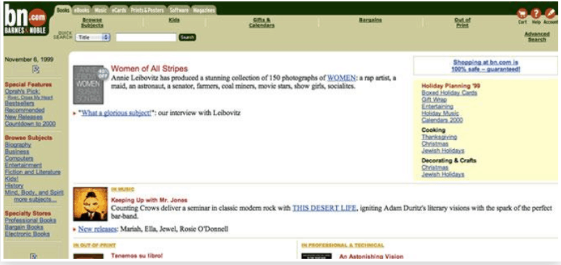 First Version of Barnes & Noble Website