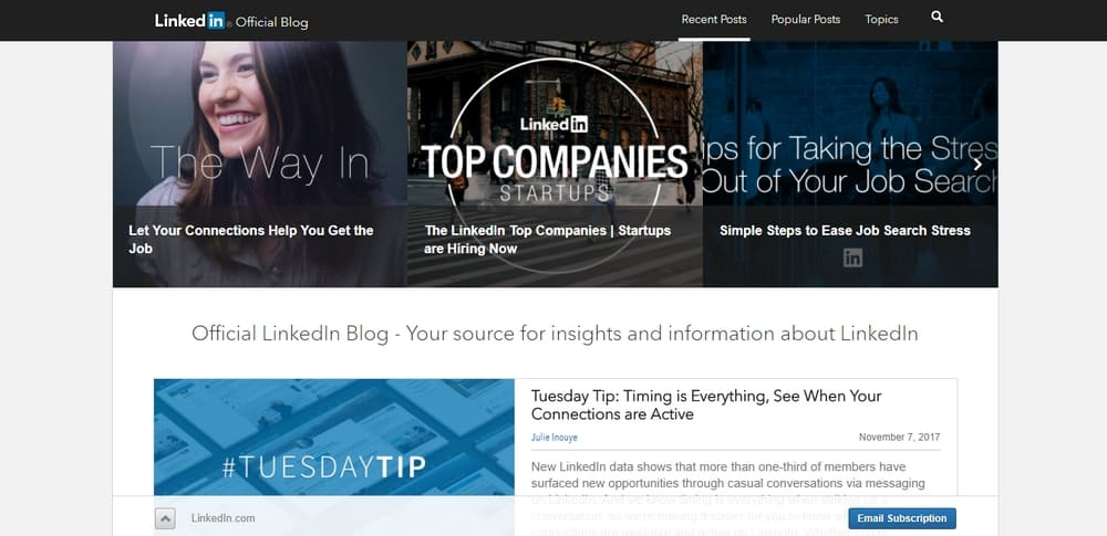 Official LinkedIn Blog is built with PHP and WordPress