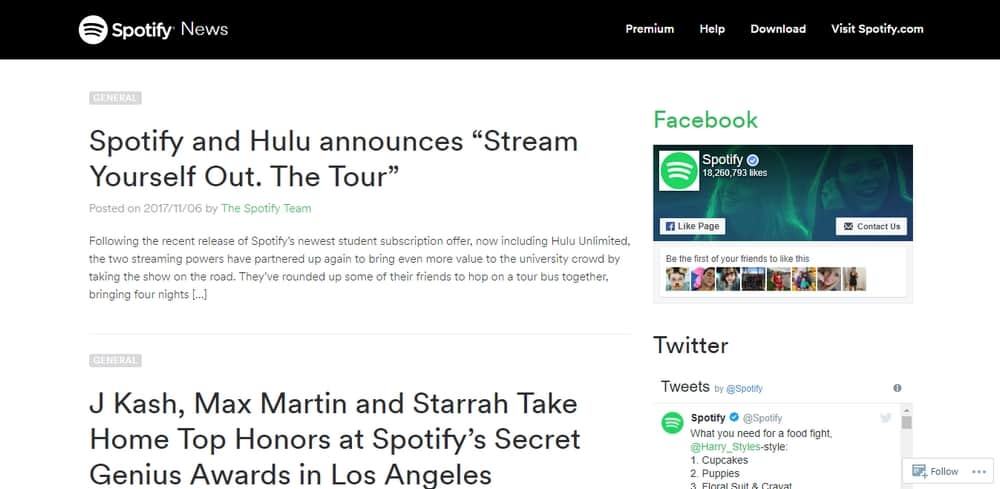 Spotify News uses WordPress