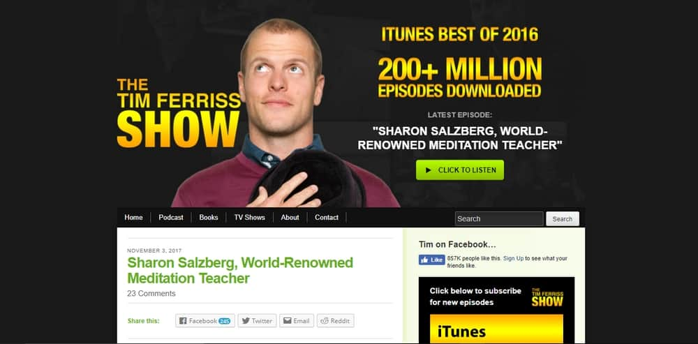 The Blog of Author Tim Ferriss uses WordPress