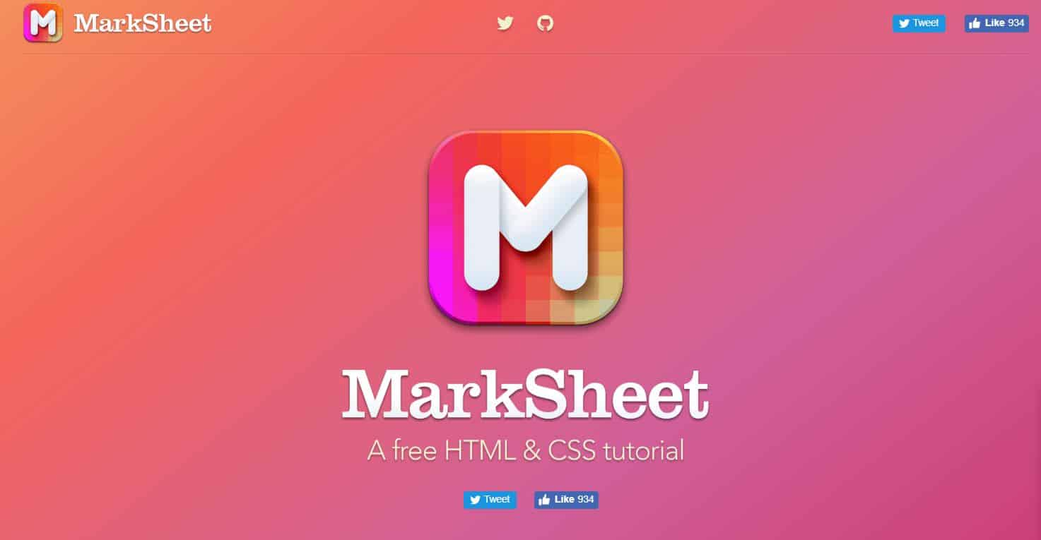 Learn HTML & CSS with MarkSheet