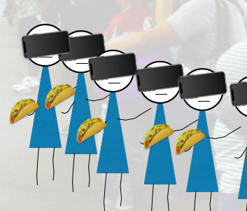 Illustration of seven New Yorkers with iPhones covering their face so they can't see
