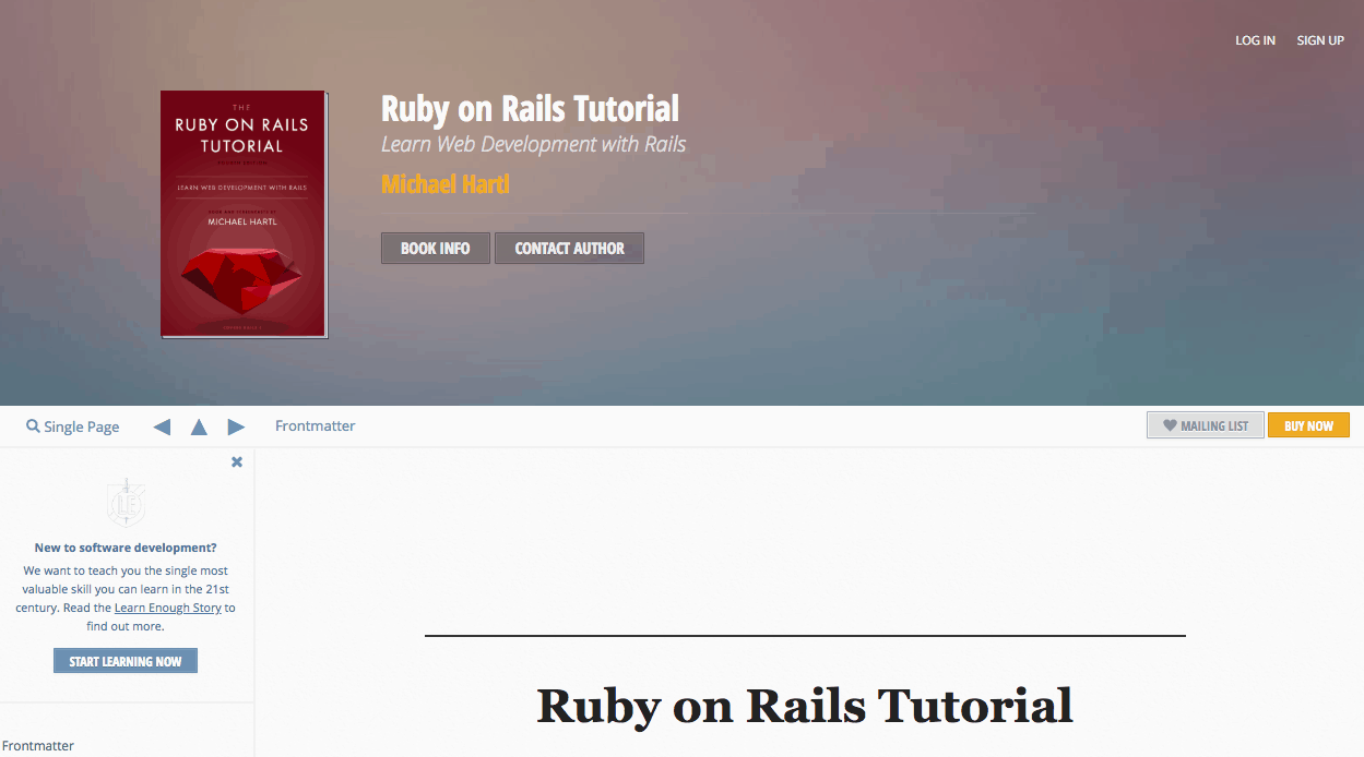 Learn Rails with the Ruby on Rails tutorial