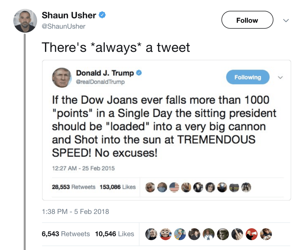 Shaun Usher's Trump Tweet Fake News
