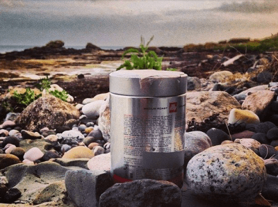 A Raspberry Pi timelapse Camera set up in a coffee tin