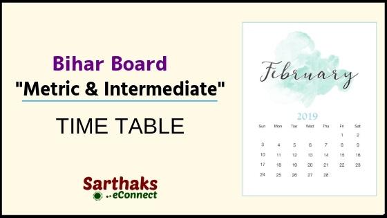 Bihar Board Metric & Intermediate exam schedule routine 2019