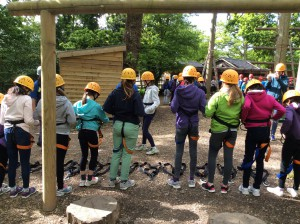 The zip wire proved to be a favourite...some girls had to overcome their fears of heights.