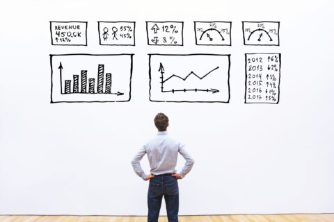 ITFM TBM business man looking at an analytical concept