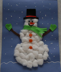 cotton-ball-snowman craft