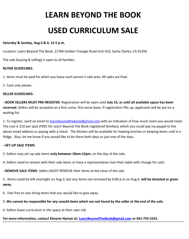 Used curriculum sale registration info