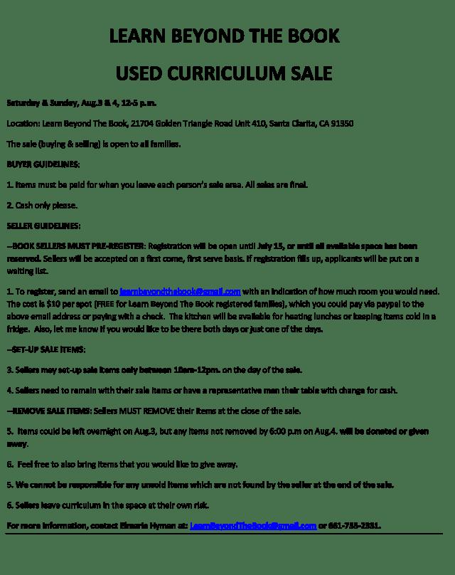 Used curriculum sale registration info