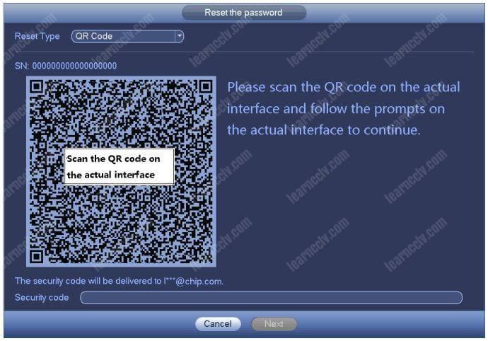 Dahua NVR Đặt lại mật khẩu Mã QR