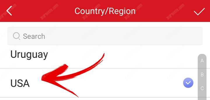 Cấu hình ứng dụng chọn quốc gia của bạn