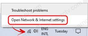 Mở Cài đặt Mạng và Internet