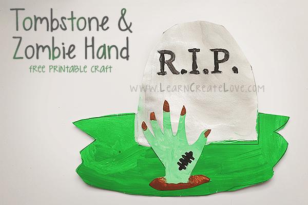 Printable Tombstone Zombie Hand Craft Learncreatelove