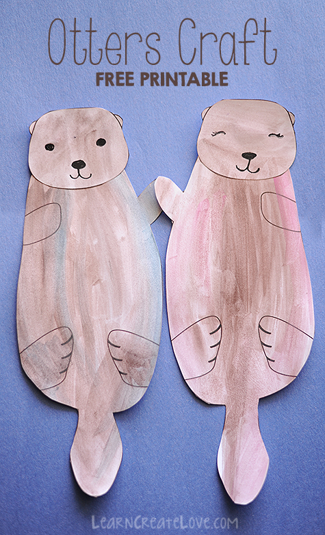 Printable otters craft, love one another coloring page
