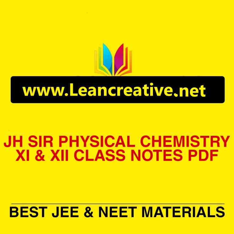 JH Sir Physical Chemistry Handwritten Notes PDF