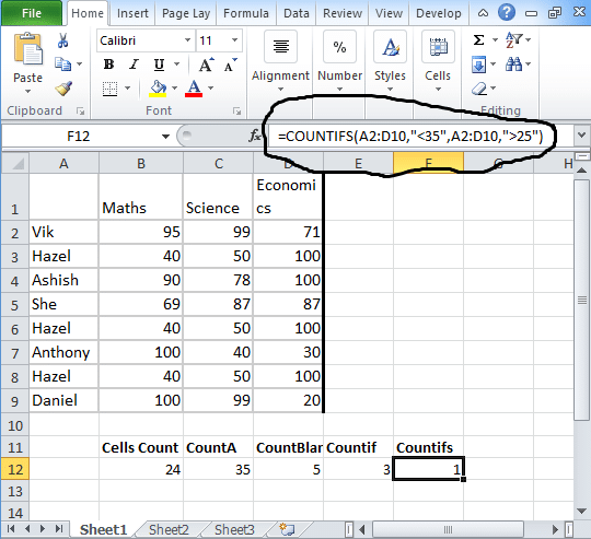 Countifs-in-excel