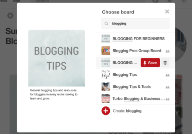 Screen shot of pinterest choose board page.