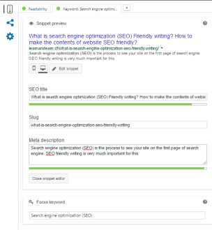 Snapshot of snippet preview, SEO title, Slug, etc.
