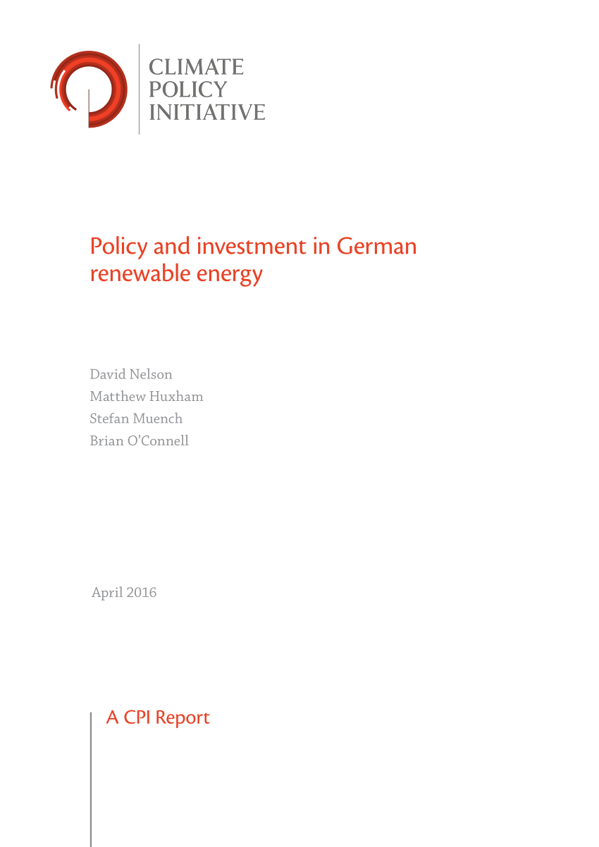European Renewable Energy Policy and Investment By David Nelson