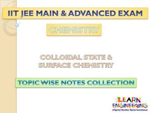 Colloidal State & Surface Chemistry (Chemistry) Notes for IIT-JEE Exam