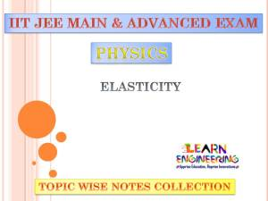 Elasticity (Physics) Notes for IIT-JEE