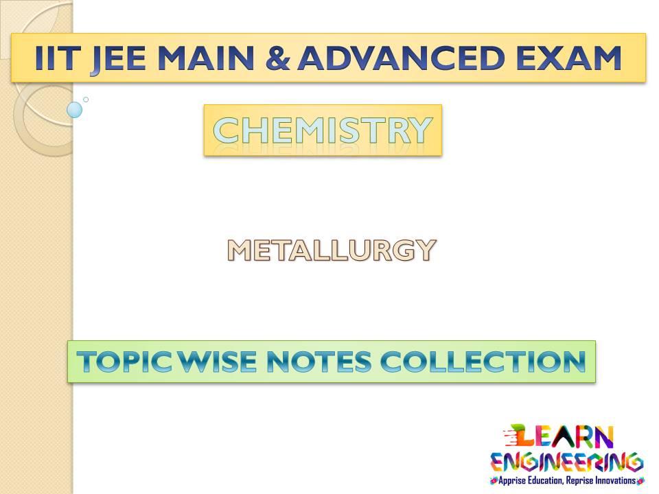 Metallurgy (Chemistry) Notes for IIT-JEE Exam