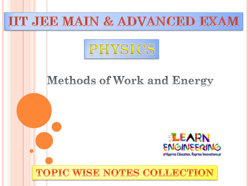 Methods of Work and Energy (Physics) Notes for IIT-JEE Exam