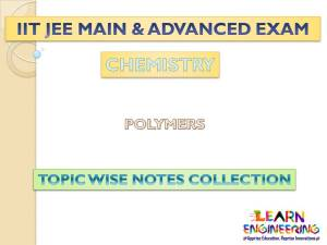 Polymers (Chemistry) Notes for IIT-JEE Exam