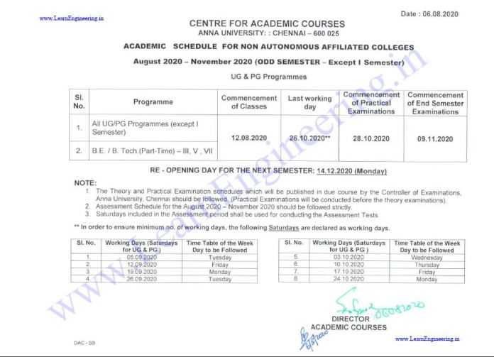 Anna University Official Reopening Date 2020