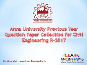 Anna University Previous Year Question Paper Collection for Civil Engineering Regulation 2017