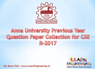 Anna University Previous Year Question Paper Collection for (CSE) Computer Engineering Regulation 2017