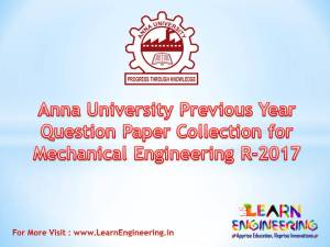 [PDF] Anna University Previous Year Question Paper Collection for Mechanical Engineering Regulation 2017