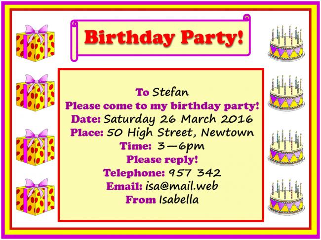 birthday party invitation learnenglish