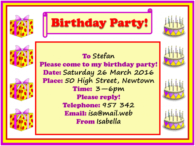 Birthday Party Invitation Learnenglish Kids British