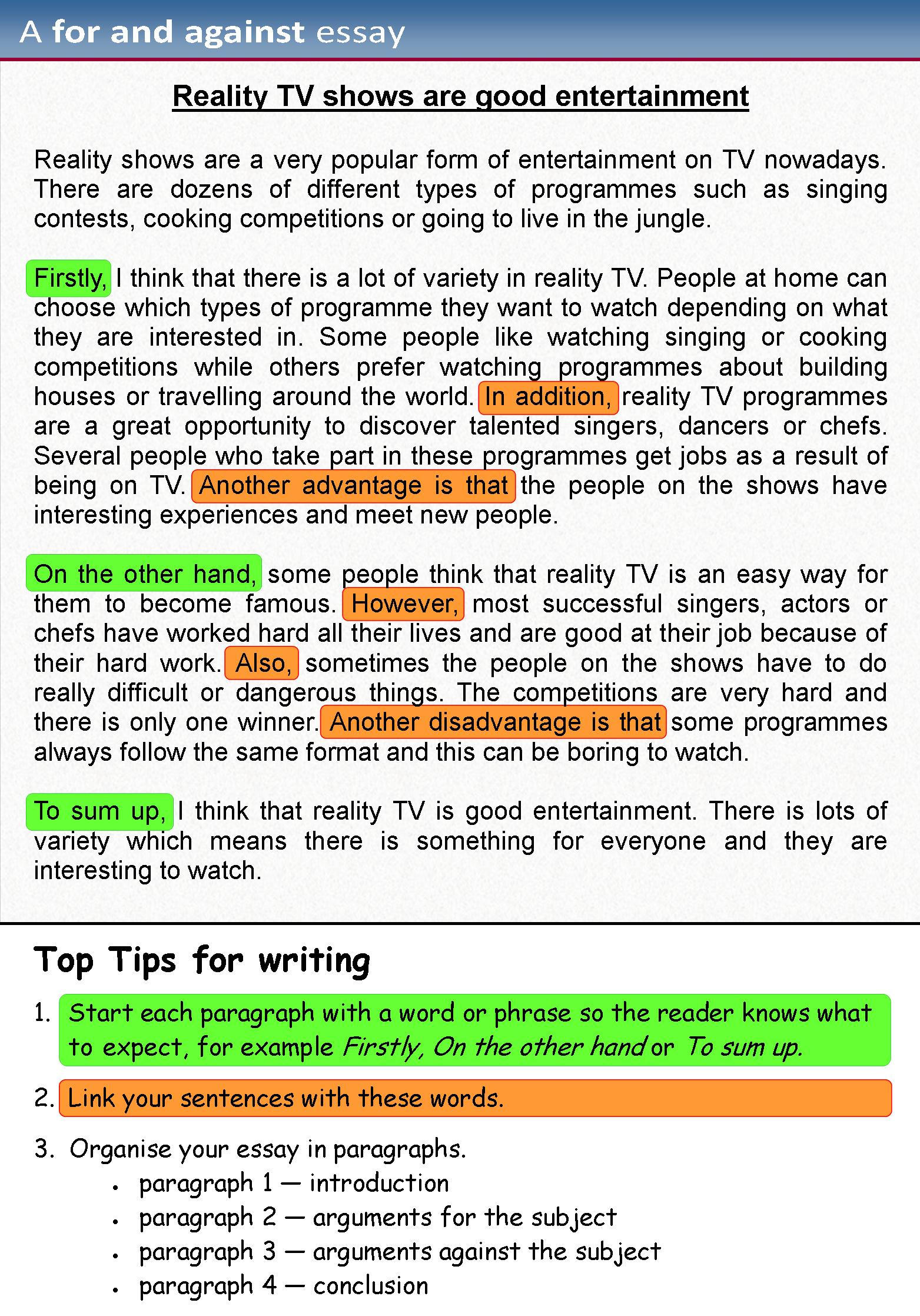 Example Of Essay Writing A For And Against Essay Learnenglish Teens British Council