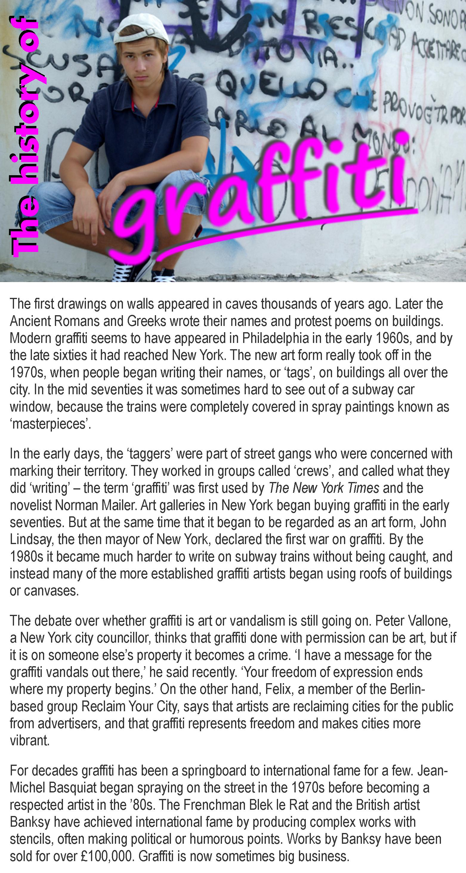 The History Of Graffiti Learnenglish Teens