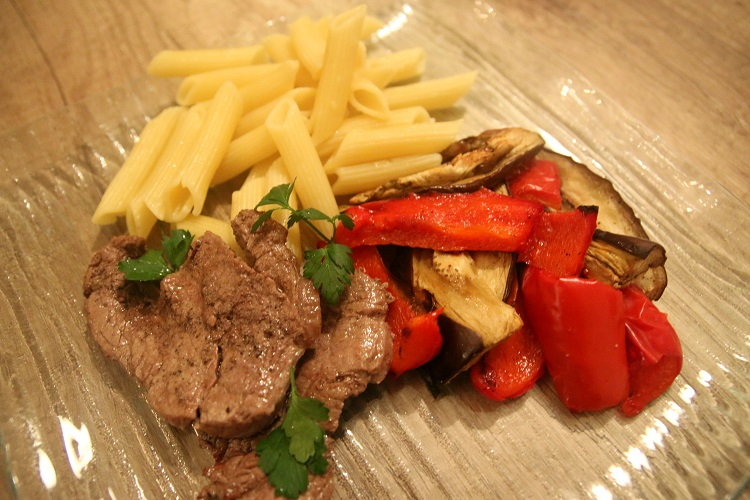 Pasta, baked eggplant, red pepper and steak