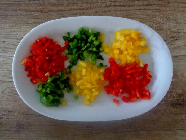 Red, green and yellow pepper