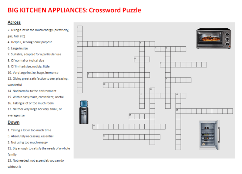 Kitchen Utensils Crossword Activity 1 Answers  U2013 Wow Blog