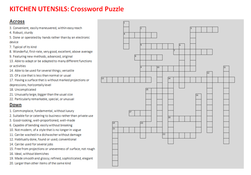 Kitchen Utensils Crossword Puzzle (Learn English With Africa worksheets) Adjectives for describing kitchen utensils