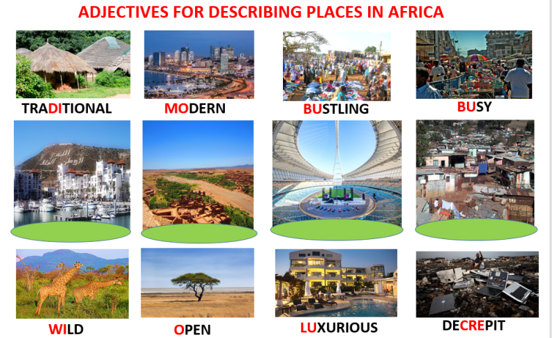 English Worksheets, Vocabulary-ADJECTIVES FOR DESCRIBING PLACES IN AFRICA, Learn English With Africa, October 2016
