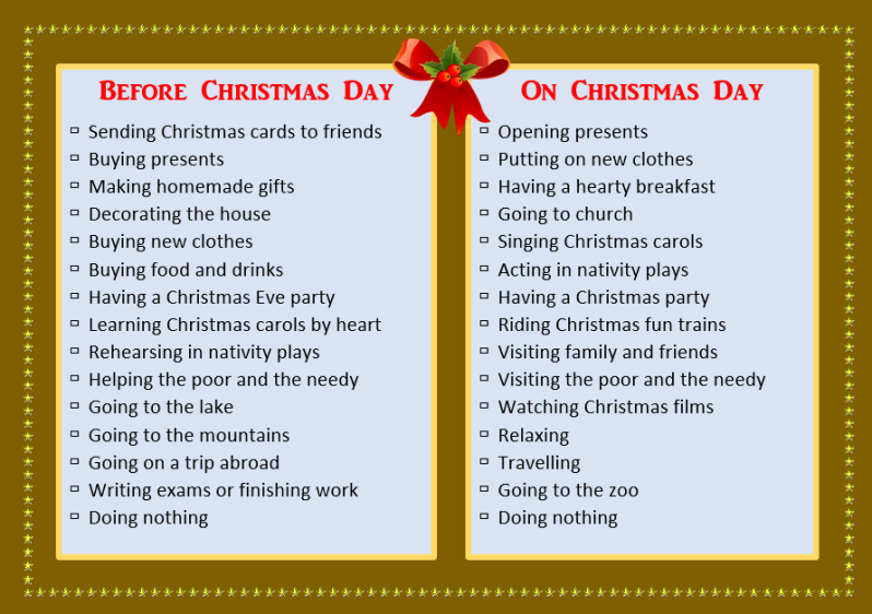 English Worksheets-Christmas Vocabulary-Christmas Activities (Two Days Before Christmas), Learn English With Africa, December 2016 (Final)