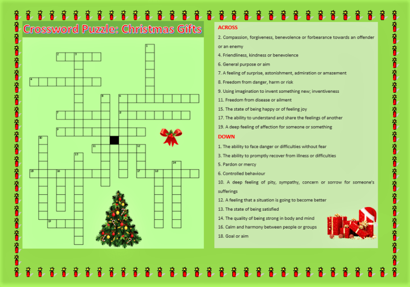 Crossword Puzzle: Christmas Gifts, Learn English With Africa, December 2016-English Worksheets