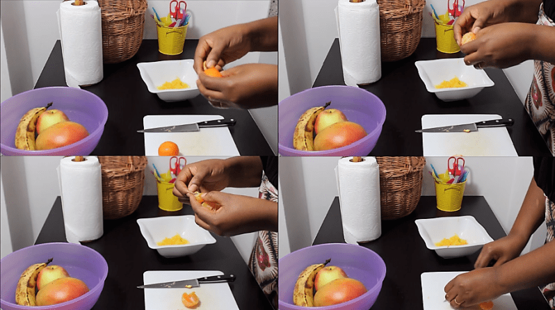 Peeling, separating segments, skinning and cutting the tangerines, Tropical fruit Salad-English Worksheets