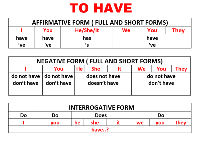 English Verbs Exercise: TO HAVE - Choose the correct ...