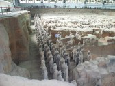 Terra-cotta Warriors, in spectacular formation, as they were buried with the Emperor.
